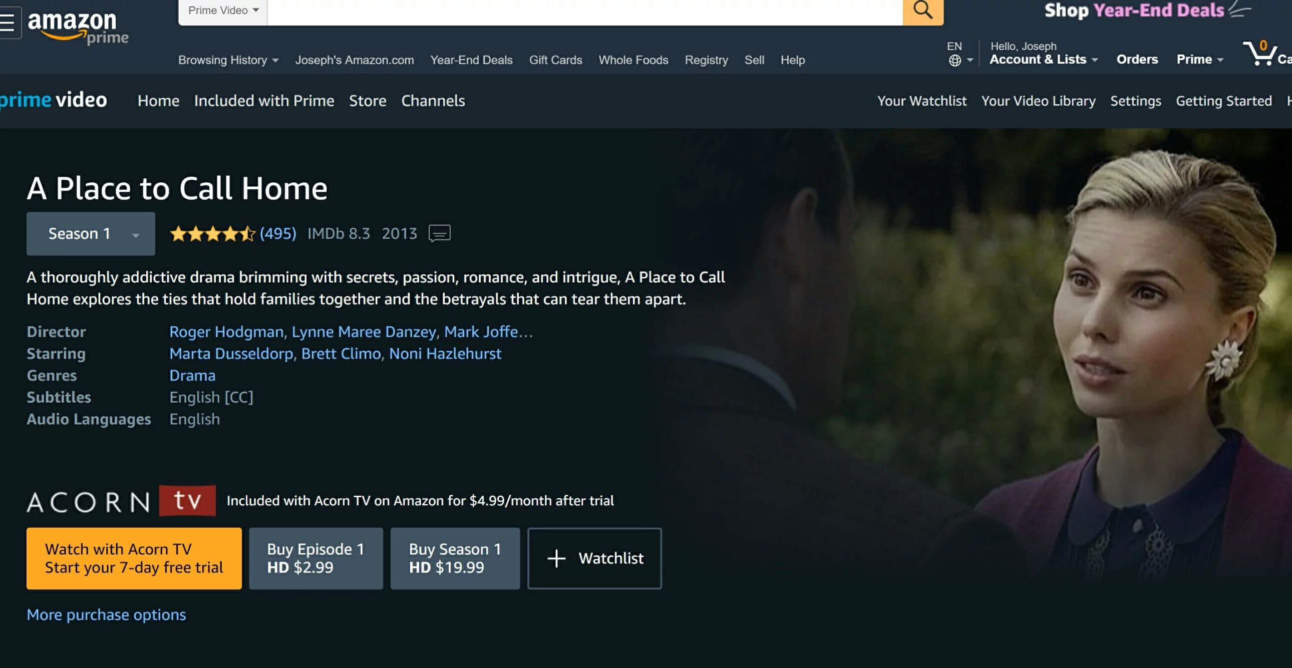 how to watch a place to call home online amazon prime video