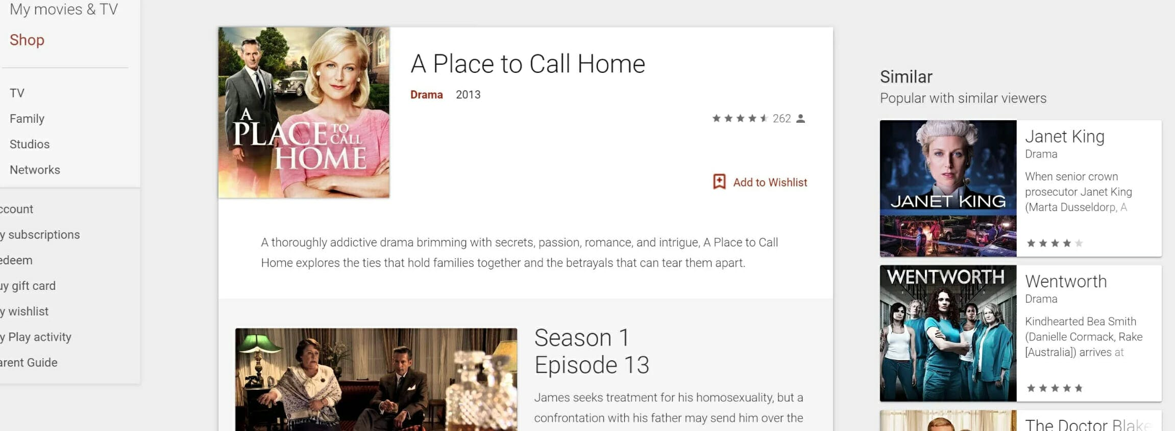 how to watch a place to call home online google play