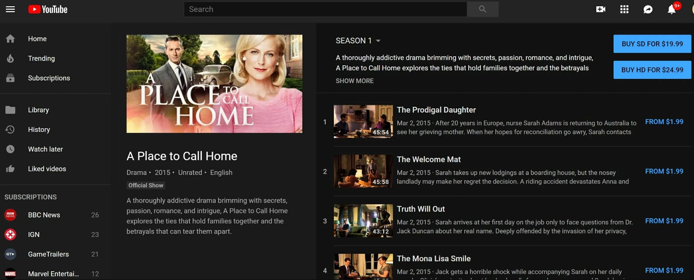 how to watch a place to call home online youtube tv
