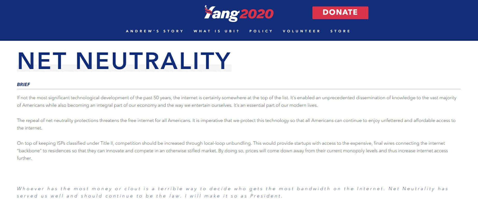 Andrew Yang 2020 Net Neutrality