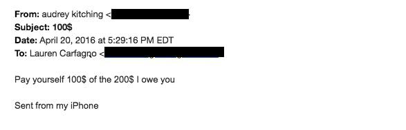 Lauren Carfagno email money