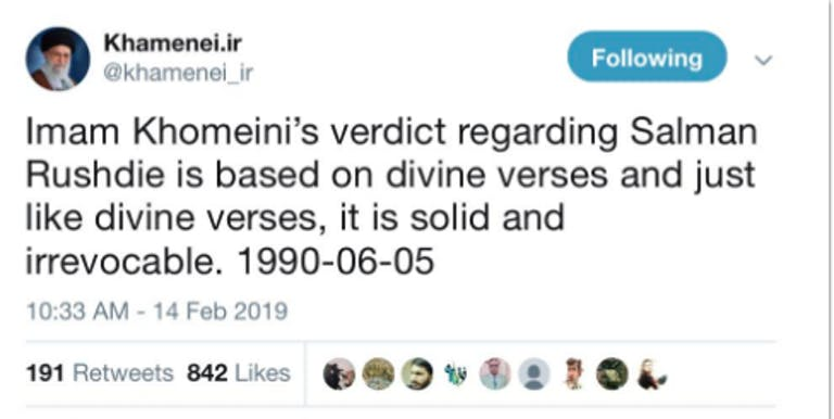 twitter fatwa khomenei iran salman rushdie