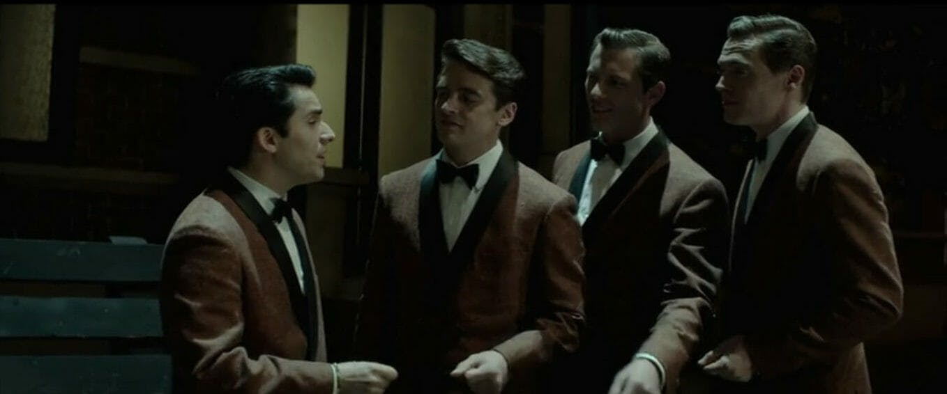 Photo of the band the Four Seasons in the musical movie Jersey Boys, from 2014.