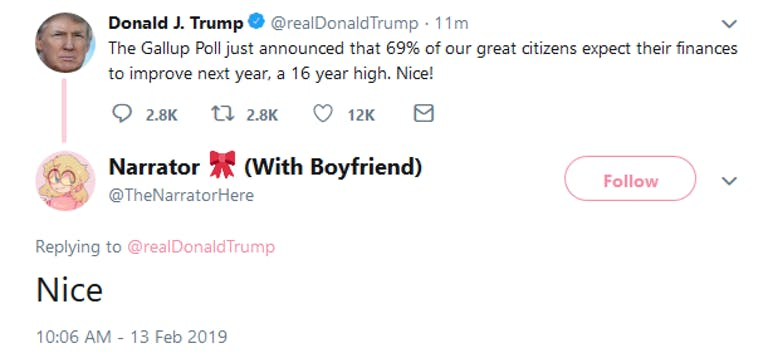 Trump 69 Tweet