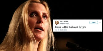 Ann Coulter's Twitter bio links to an old parody account.