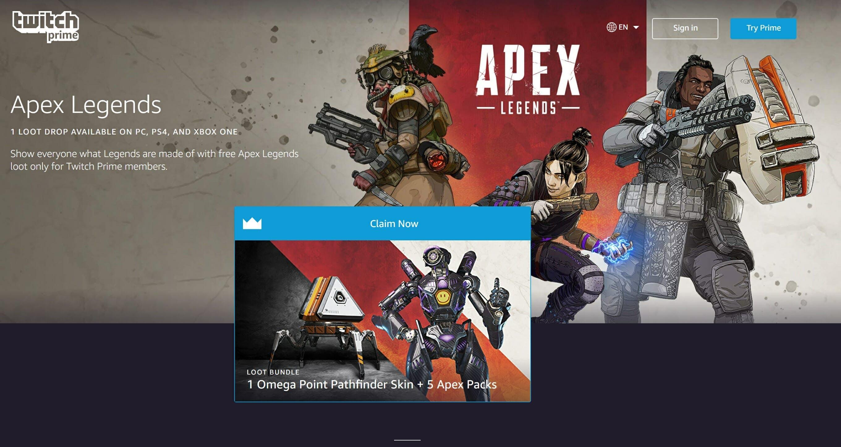 apex legends twitch prime pack guide