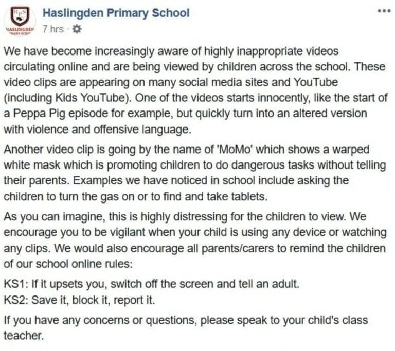 Momo Suicide Challenge school warning