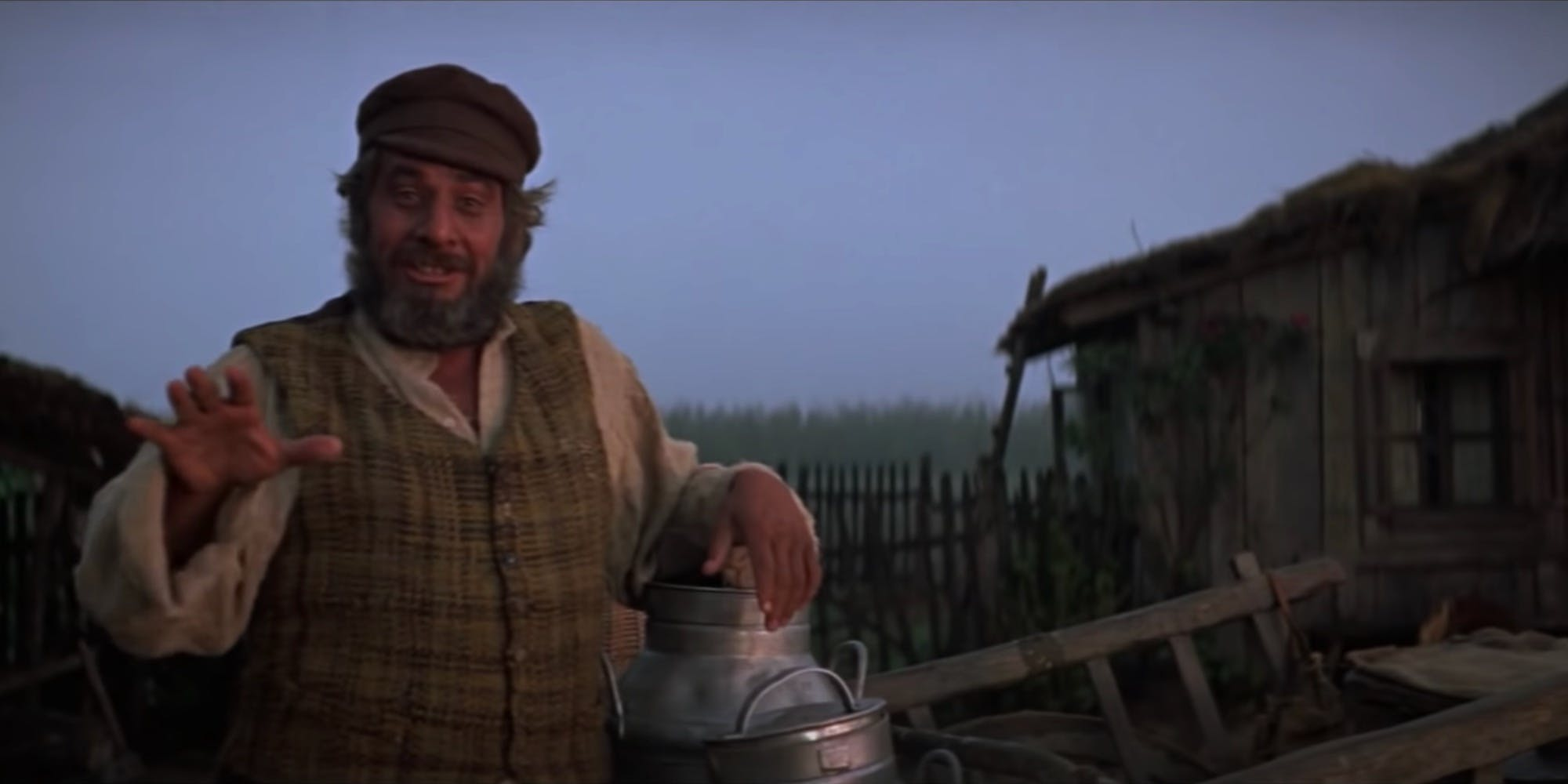 A still from the movie Fiddler on the Roof, which follows a Jewish man in a small Ukrainian village called Anatevka in 1905.