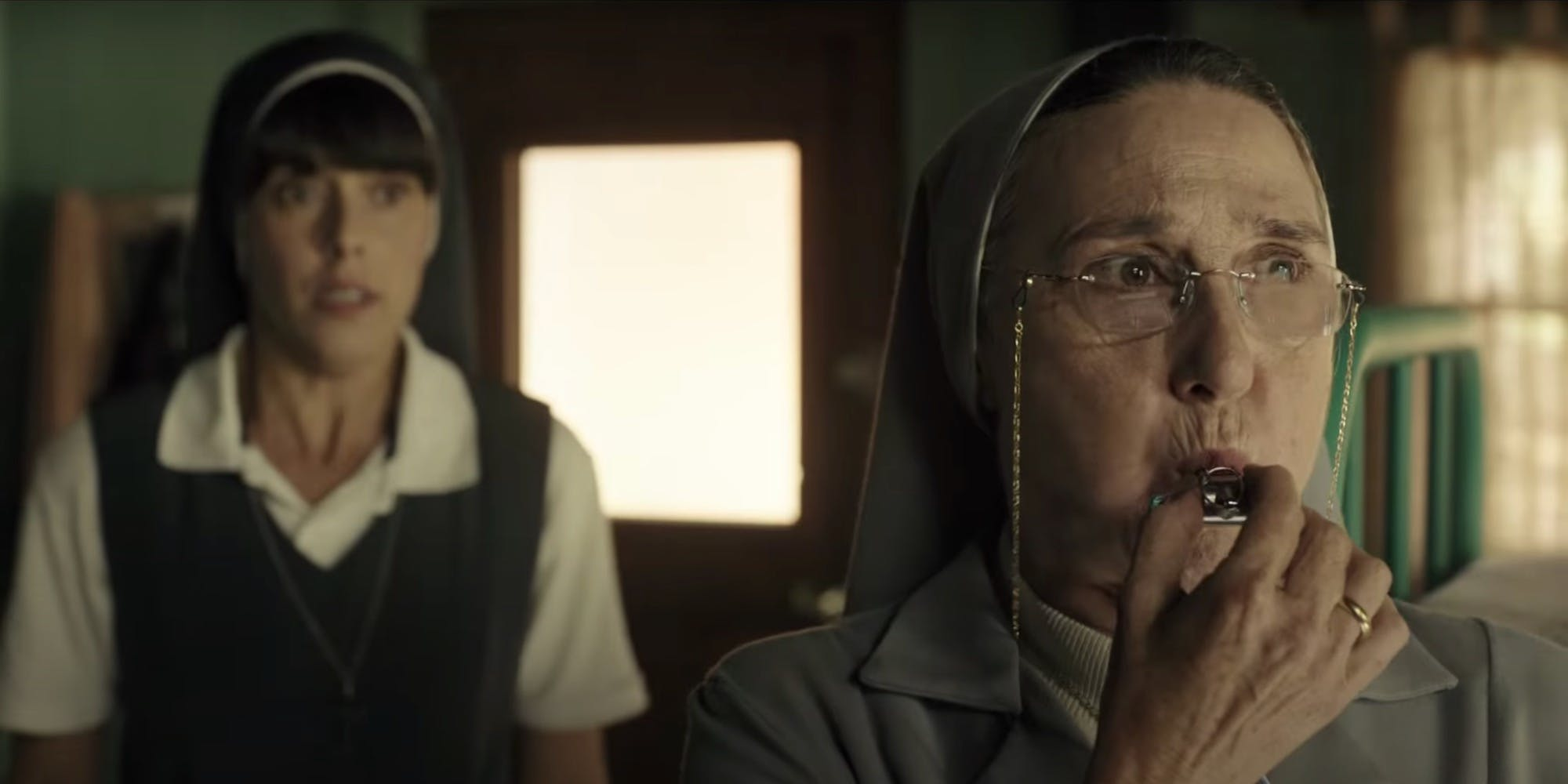 Still from the movie Holy Camp! on Netflix showing a nun blowing a whistle.