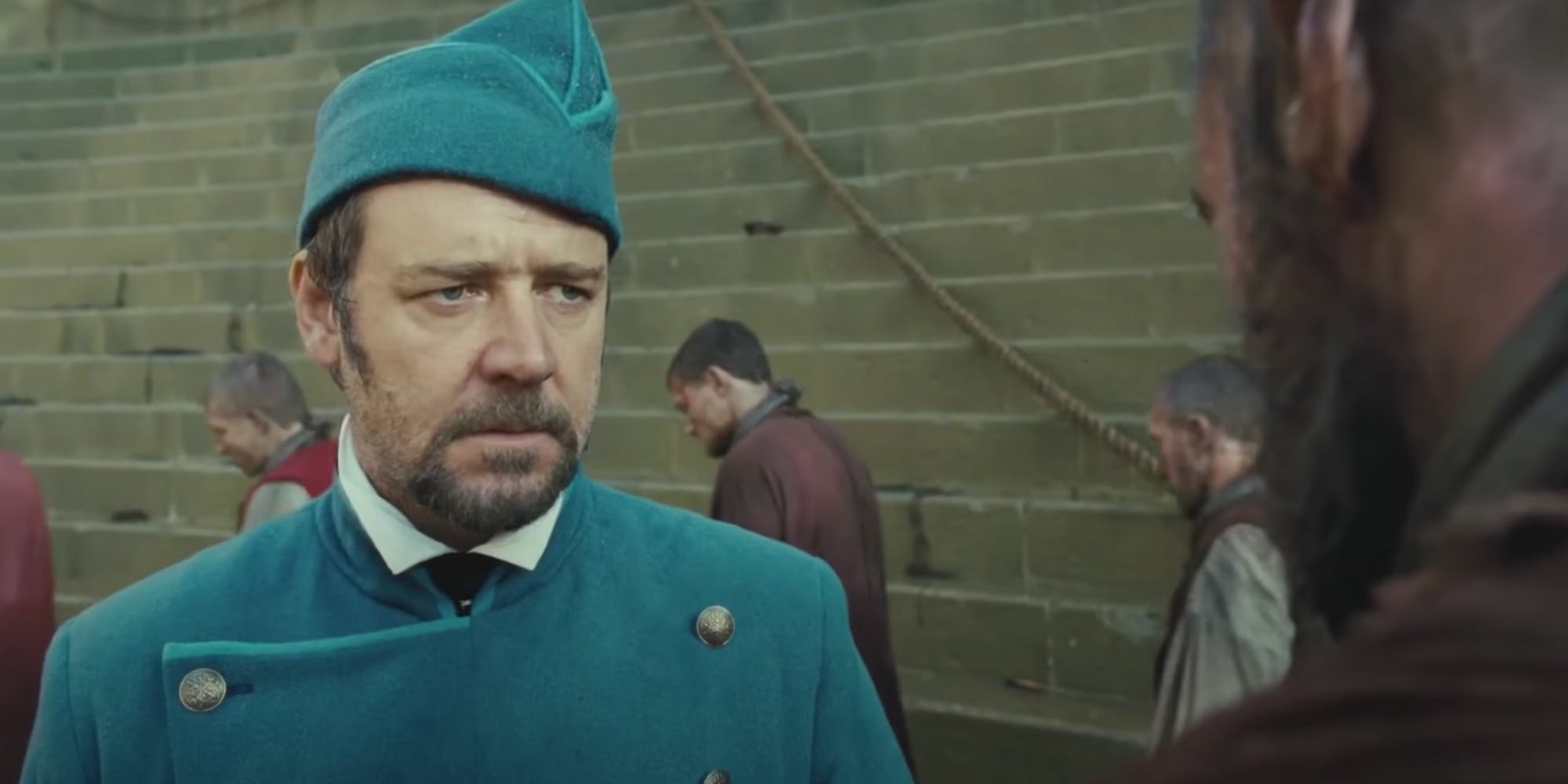 Still of Russell Crowe in Les Misérables, the movie based on the Victor Hugo novel.