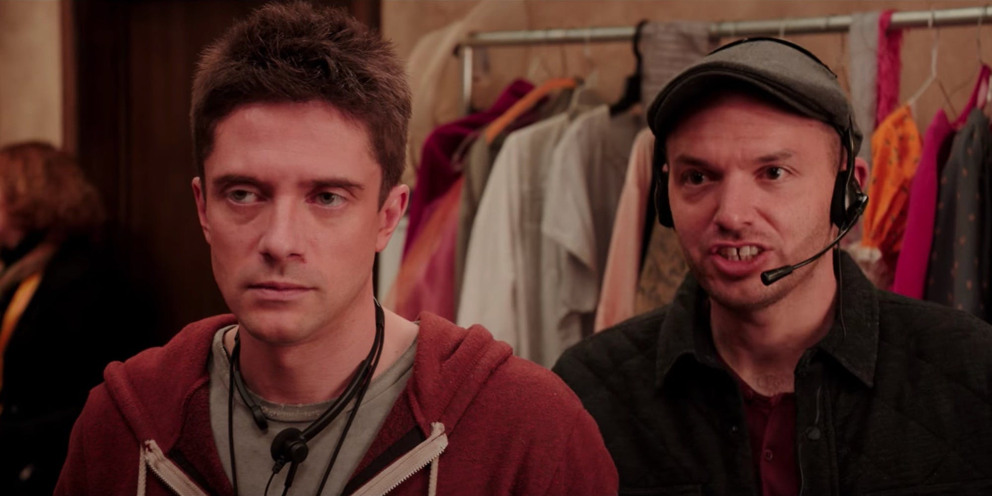 Topher Grace in the musical movie Opening Night, streaming on Netflix.