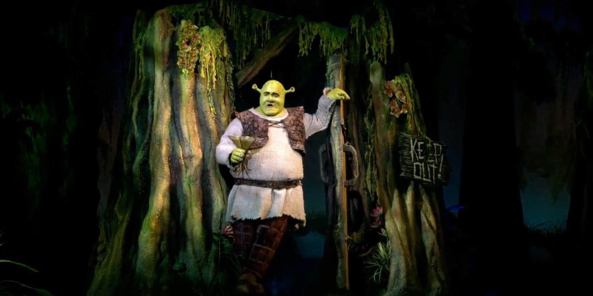 A still from Shrek the Musical, a musical based on the 2001 animated film.