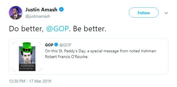 Justin Amash Beto @GOP Tweet