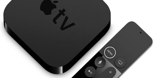 A photo of the Apple TV device and the remote