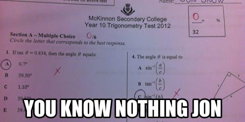 jon snow math test