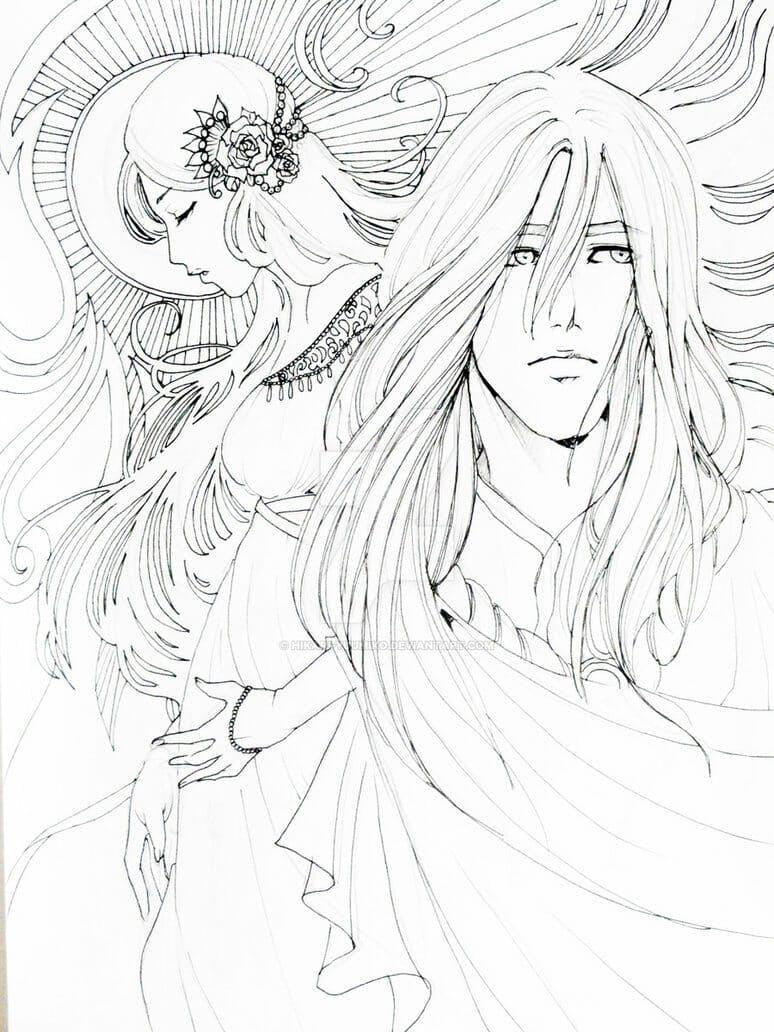rhaegar and lyanna line art by hikari yuumiko