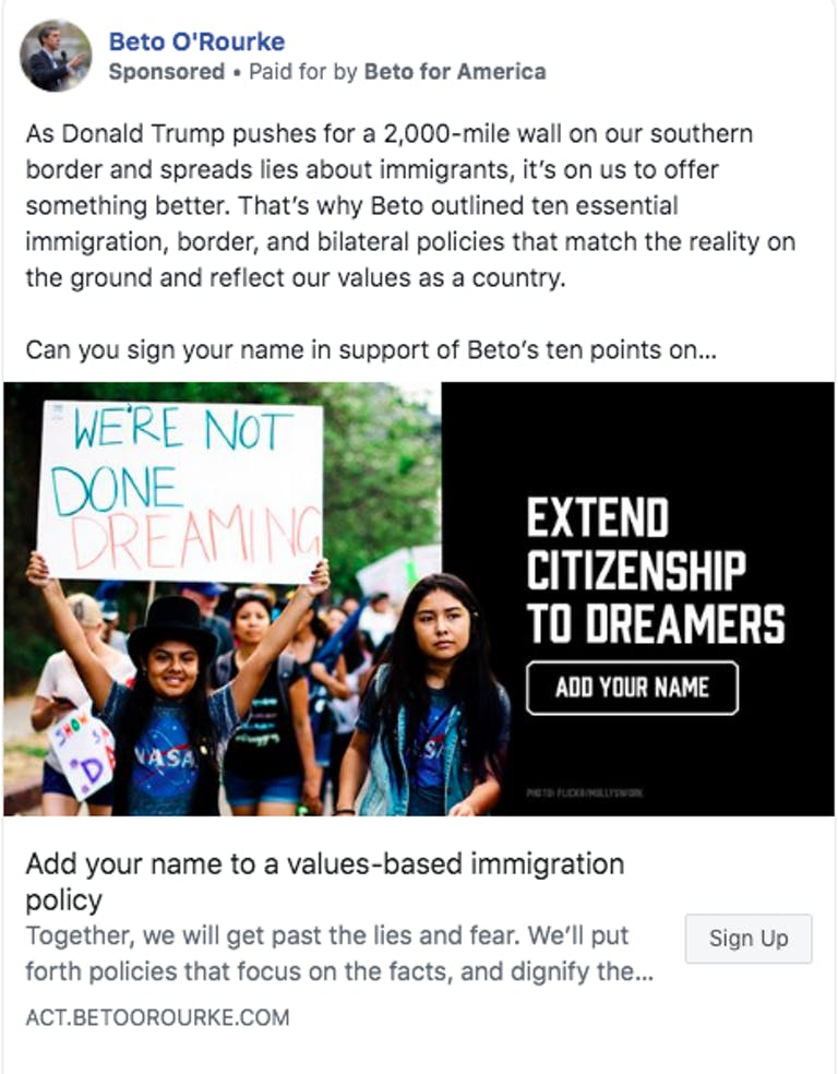 Beto O'Rourke immigration ad facebook