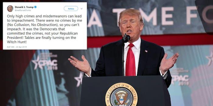 Donald Trump Impeachment Tweet Mueller Report
