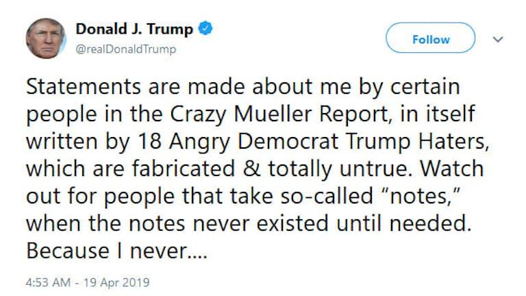 Donald Trump Mueller Report Total Bullshit Tweet