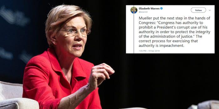 Elizabeth Warren Trump Impeachment Mueller Report