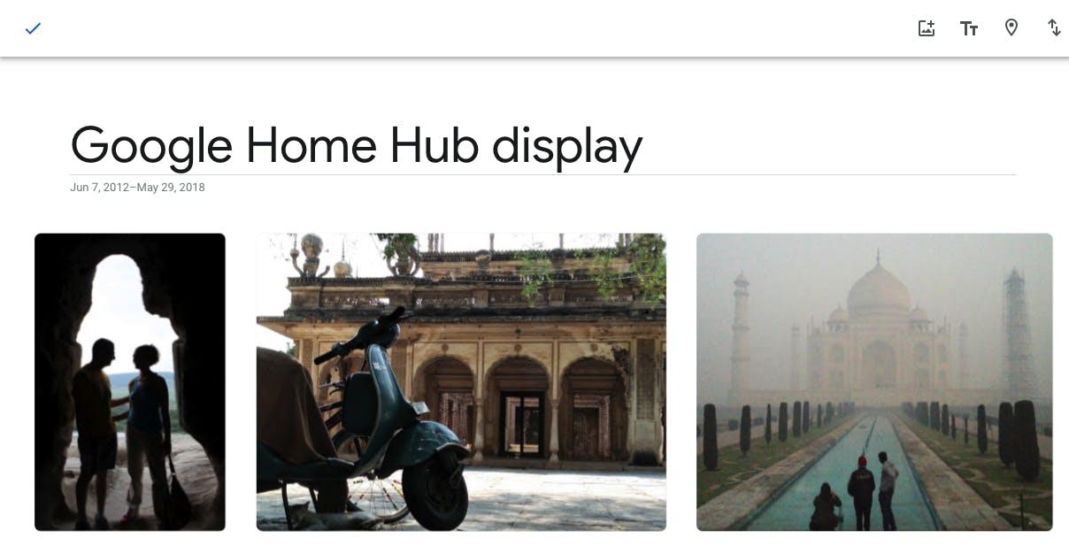 Google Home Hub display create album