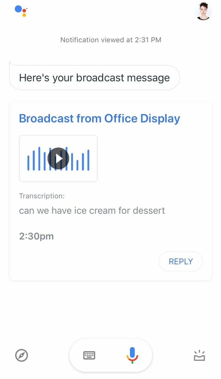 Google Home assistant - receiving a broadcast reply