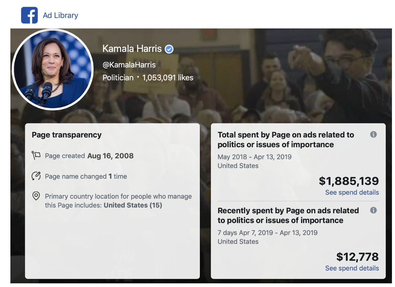 facebook political ad spending donald trump beto orourke kamala harris