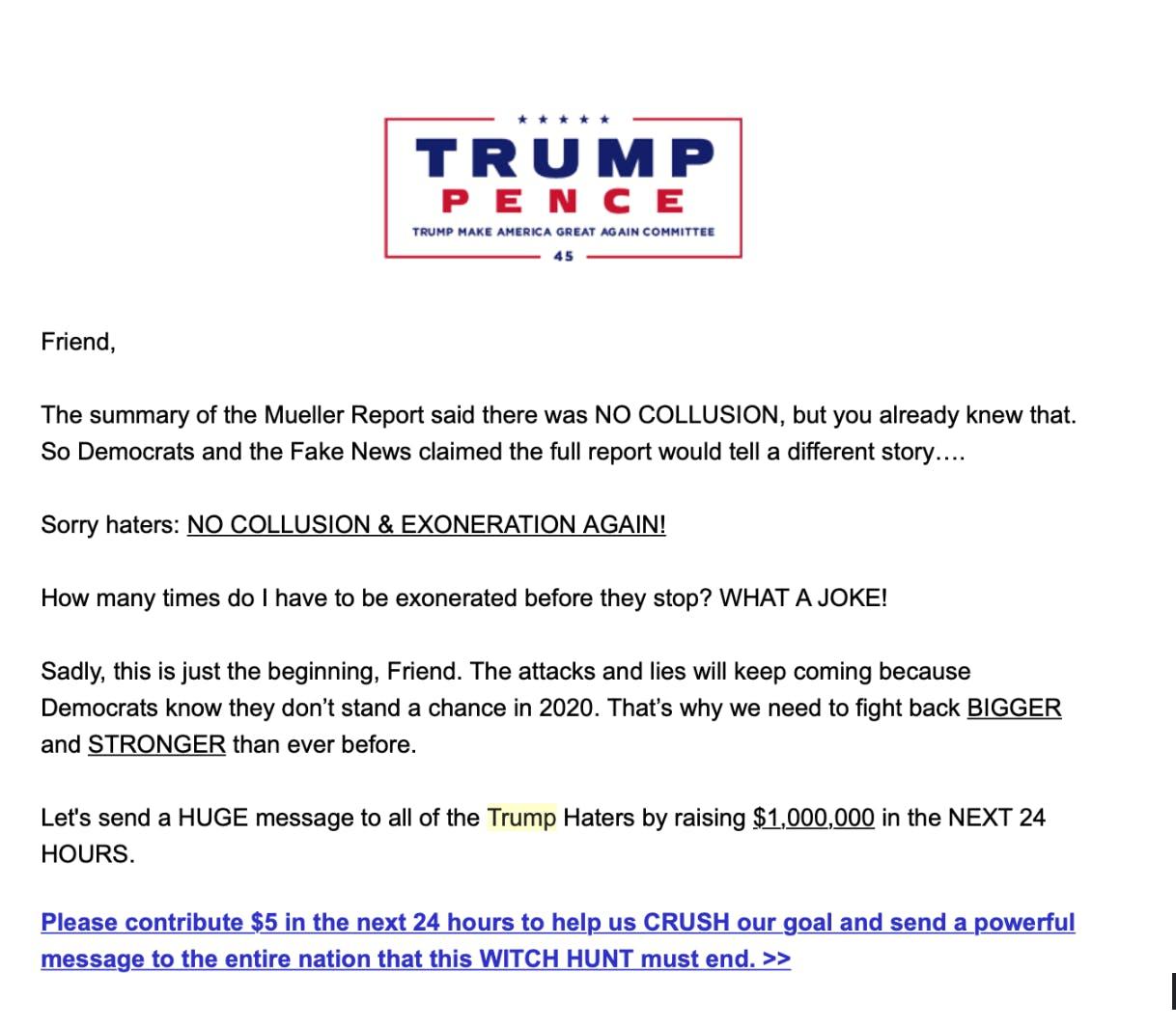 trump facebook fundraising mueller
