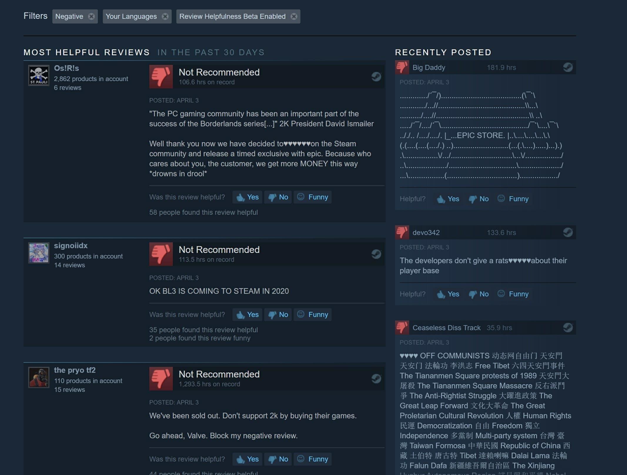 borderlands 3 epic games store review bomb