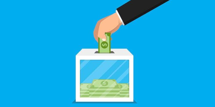 man placing bill into voting box