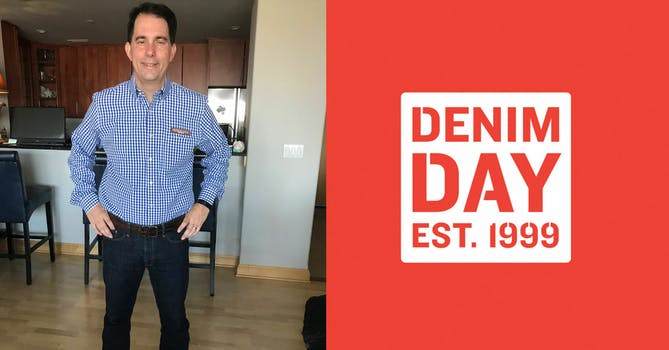 Left: Scott Walker in a Denim. Right: Denim Day Est. 1999