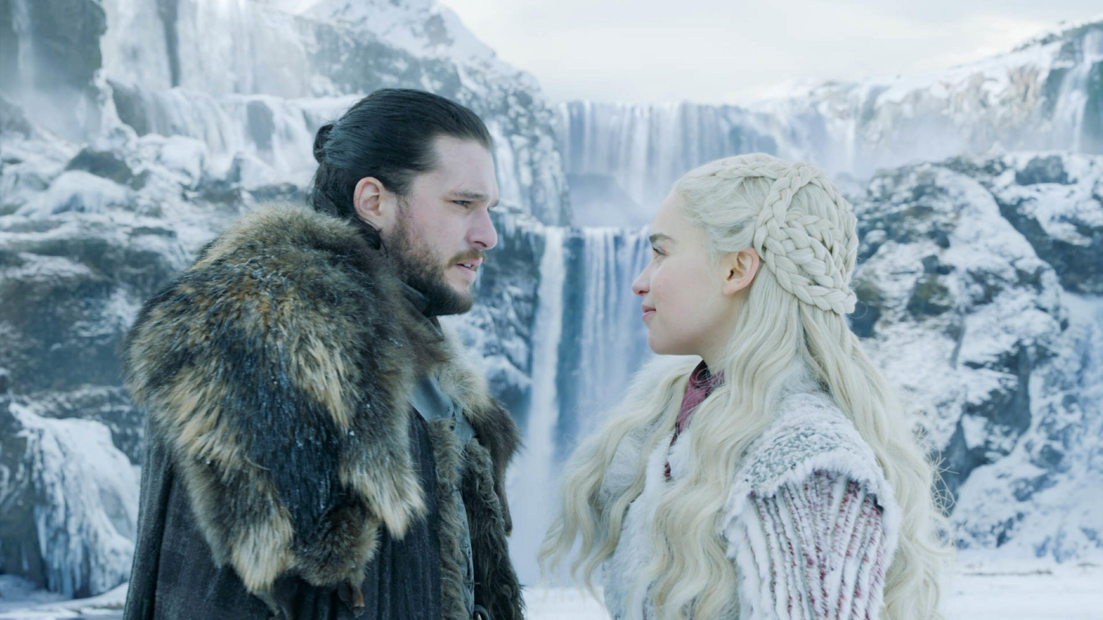 game of thrones jon and daenerys waterfall