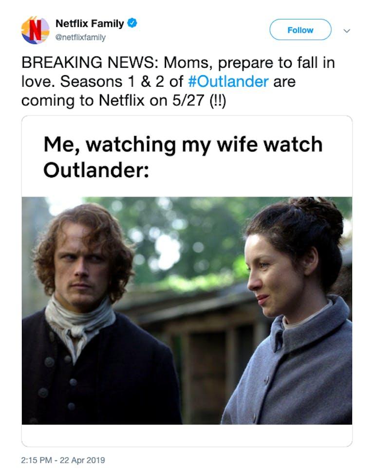 Is Outlander on Netflix tweet