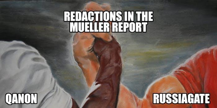 qanon russiagate redactions in the mueller report epic handshake