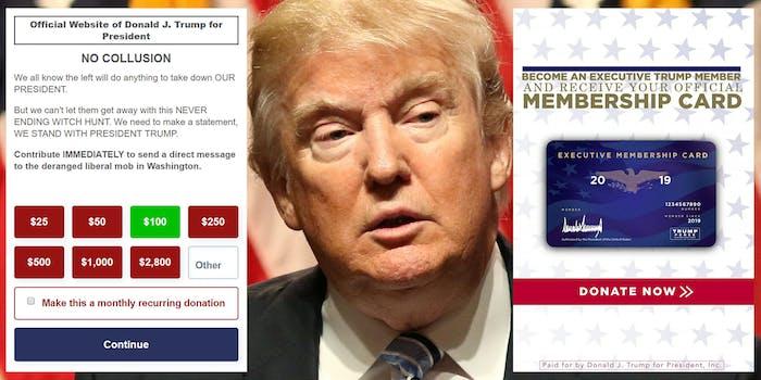 trump no collusion donations
