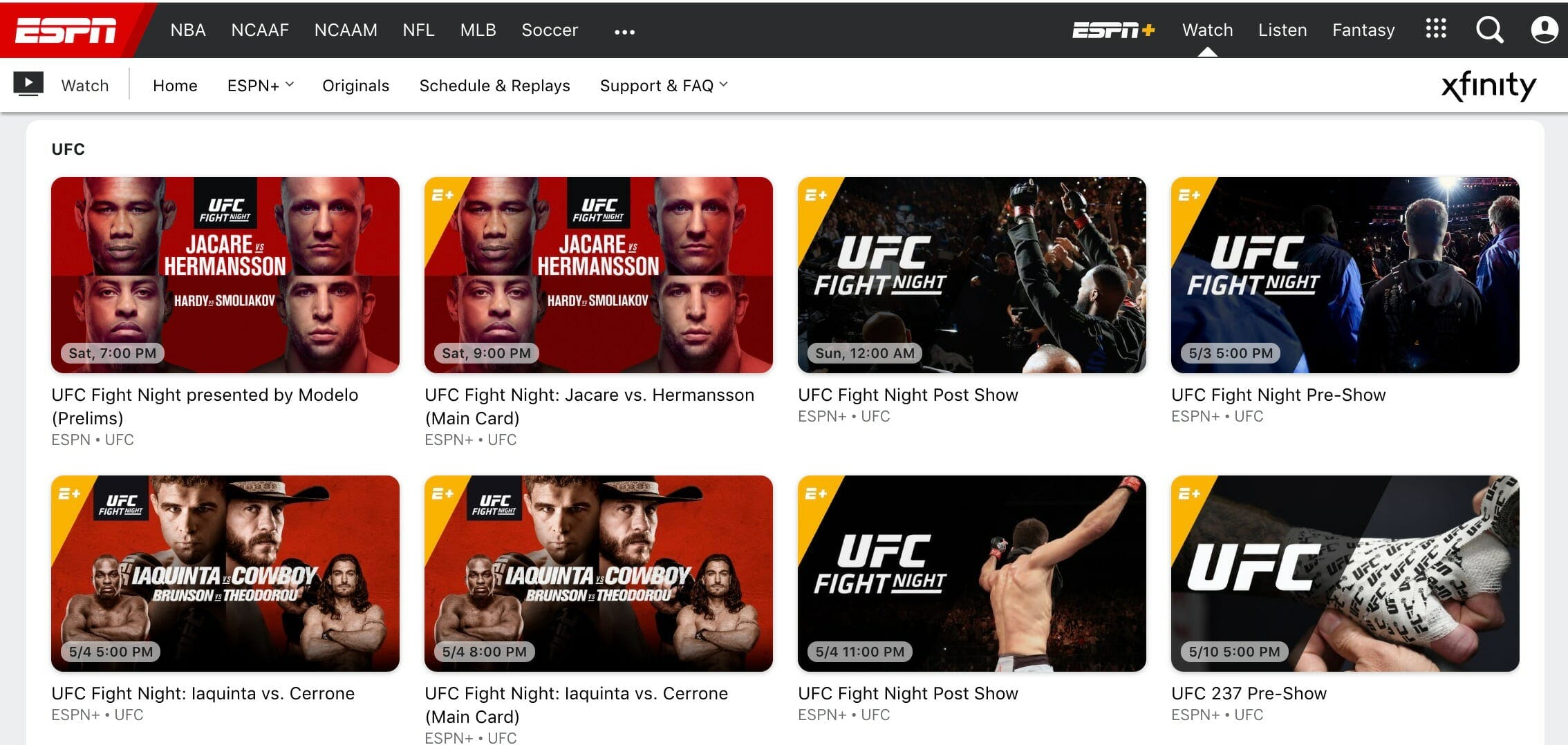 watch ufc espn plus