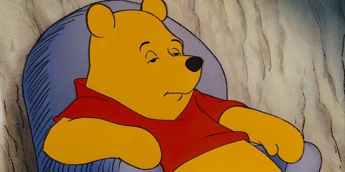 winnie the pooh falling asleep in chair meme