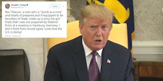 Donald Trump Rex Tillerson Dumb As A Rock Tweet