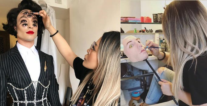 Collage shows Mimi Choi doing make up on Ezra Miller, and making Miller's mask for the Met Gala