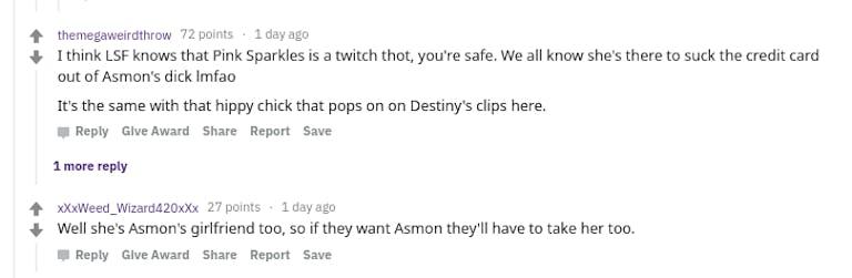 Reddit comments Pink Sparkles