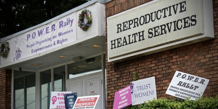 A reproductive health services center seen with banners for women's rights in Montgomery, Alabama