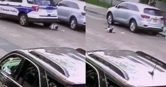 Screengrabs from surveillance video shows the 1-year-gold under the Boston police car; a second screengrab shows the toddler on the street after the car has run her over