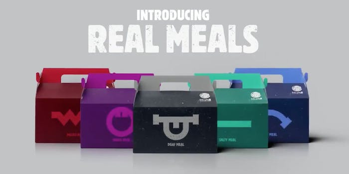 Burger King 'Real Meals' show different colored packages attributed to their different 'sad' emotions -- IDGAF, Salty, YAAAS, pissed, and blue meal