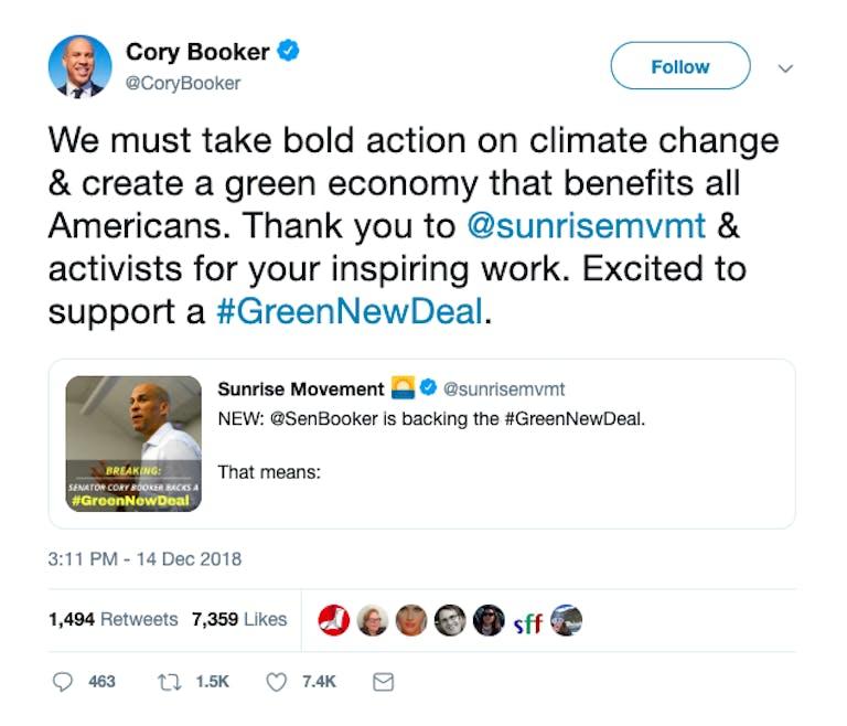 cory booker 2020 platform green new deal
