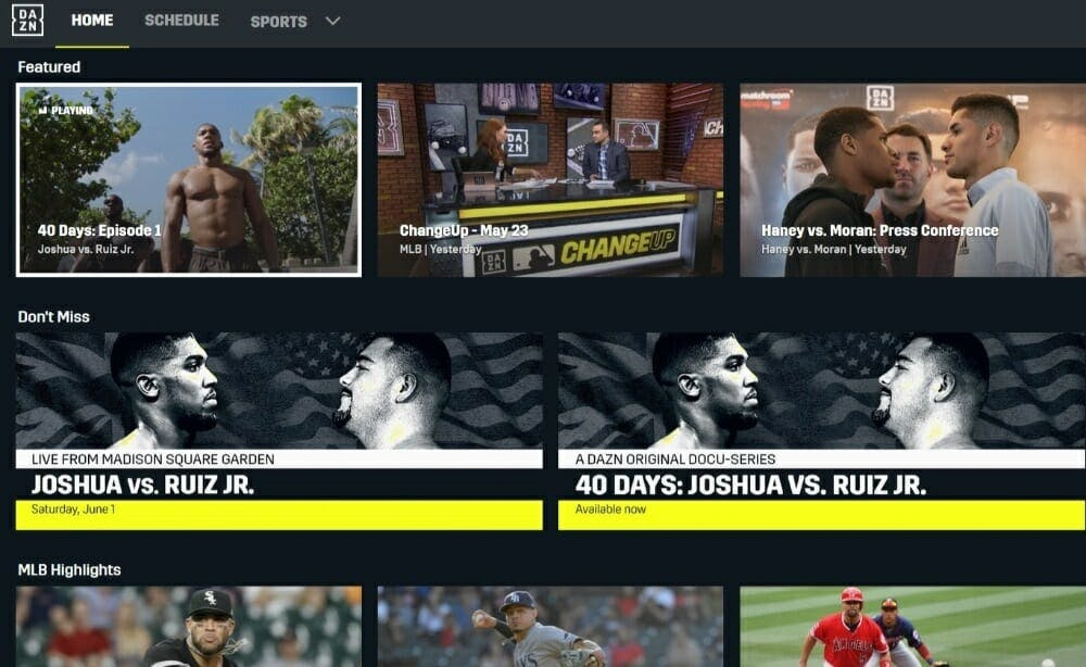 DAZN app review interface how does it work