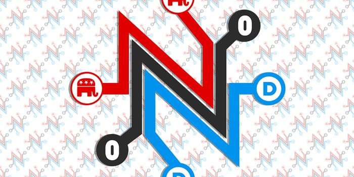 net neutrality logo with democrat and republican logos