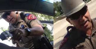 A collage shows trooper Brian Encinia pointing a stan gun at Sandra Bland in cell phone video she recorded. The photo next to it shows Brian Encinia yelling at her to drop her phone