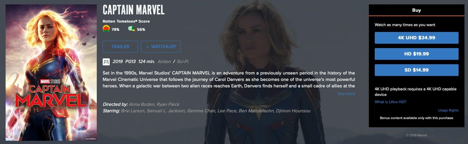 watch captain marvel rent buy on FandangoNow