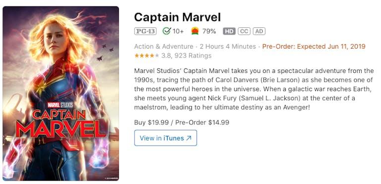 watch captain marvel rent buy on iTunes
