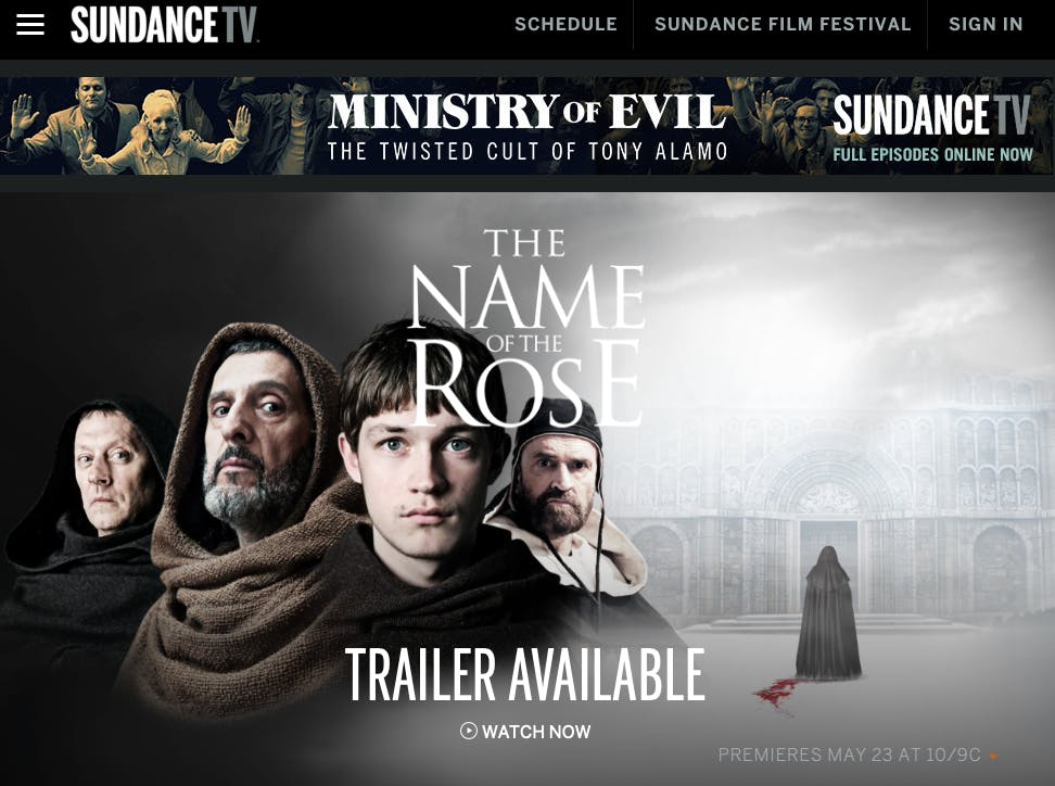 watch in the name of the rose online free on SundanceTV